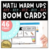 Math Warm Up July Boom Cards™ Digital Task Cards - Differe