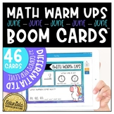 Math Warm Up June Boom Cards™ Digital Task Cards - Differe