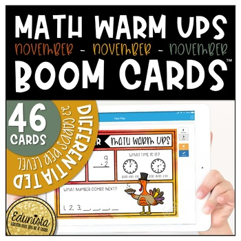 Math Warm Up November Boom Cards™ Digital Task Cards - Differentiated 2 Levels