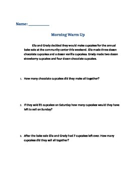 Math Warm Up Question
