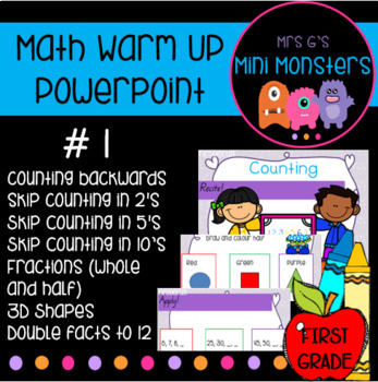 Math Warm Up Recite Recall Apply - Count backwards, Skip Count, 3D shapes + more