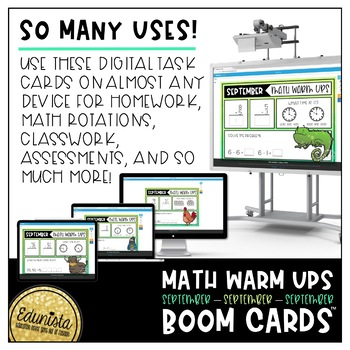 Math Warm Up September Boom Cards™ Digital Task Cards - Differentiated 2 Levels