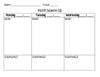 Math Warm Up Sheet FREEBIE
