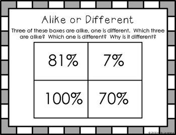 Math Warm Up Slides- Alike or Different