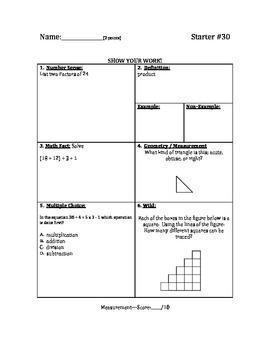 Math Warm Up / Starters - Bundle #3