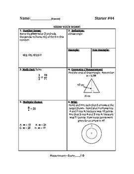 Math Warm Up / Starters - Bundle #5