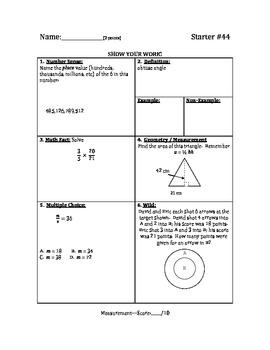 Math Warm Up / Starters - Bundle #5