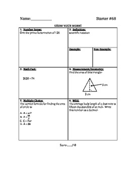 Math Warm Up / Starters - Bundle #7 (w/ 5 Extra Pages)