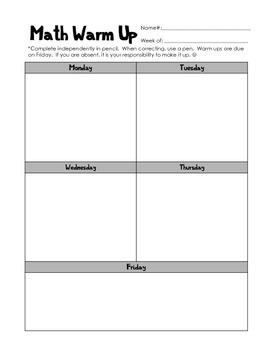 Math Warm-Up Template (Bellringer paper)