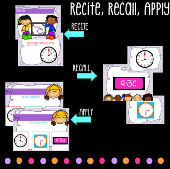 Math Warm Up in Recite Recall Apply - Counting, Money, Shape, Time, Odd and Even