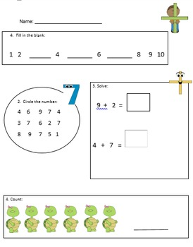 Math Warm Up (numbers 1-10)