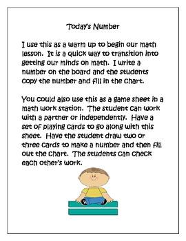 Math---Warm Up/Center Activity