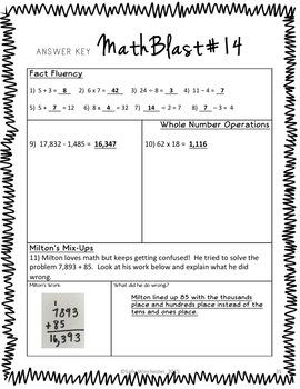 Math Warm Ups, Bell Ringers, Morning Work, Set of 20, Part 1