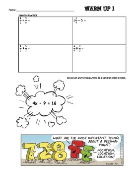 Math Warm Ups (Fractions, Equations, Data, and Simple Interest)