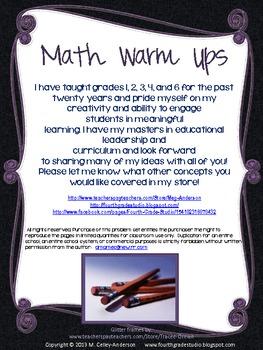 Math Warm Ups Grade 4 Freebie!
