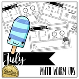 Math Warm Ups July - Differentiated for 2 levels!