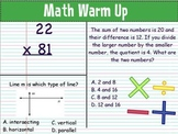 Math Warm Ups: March : Grade 4