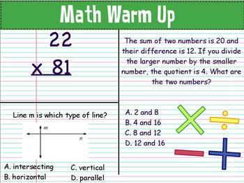 Math Warm Ups: March : Grade 4
