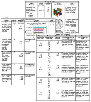 Math Warm-Ups, Math Pre-Class, Math Maintenance (Set A)