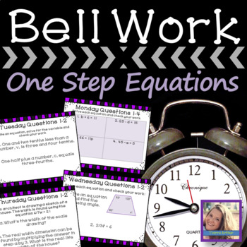 Math Warm Up One Step Equations