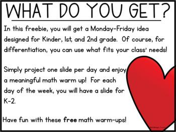 Math Warm-Ups Freebie