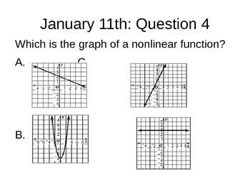 Math Warm Ups: Question of the Day / test prep for 8th grade