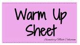 Math Warm Ups Sheet