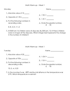 STAAR Math Warm-up 6th Grade