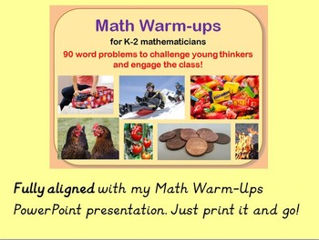 Math Warm-up Story Problems (K-2)-Common Core Aligned
