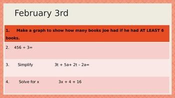 Math Warm ups 6th grade EC