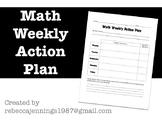 Math Weekly Action Plan- Goal Setting Graphic Organizer