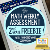 Math Weekly Assessments {2nd Grade} FREE WEEK I Distance L