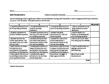 Math Weekly Participation Rubric - Free