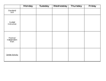 Math Weekly Planning Sheet