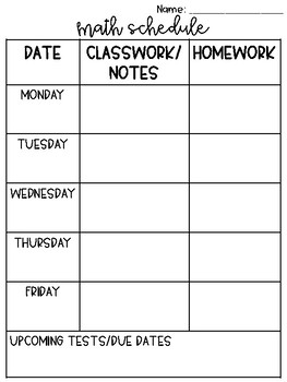 Math Weekly Schedule
