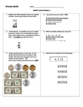 Math Weekly Skills Quiz KEY for Third Grade