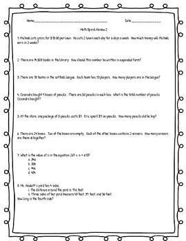 Math Weekly Spiral Review Classwork and Quizzes