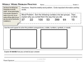 Math Weekly Word Problems Homework with Parent Note Grade 2 Weeks 1-12