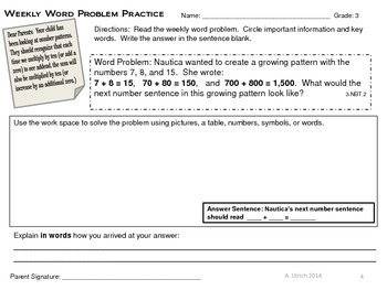 Math Weekly Word Problems Homework with Parent Note Grade 3 Weeks 1-12