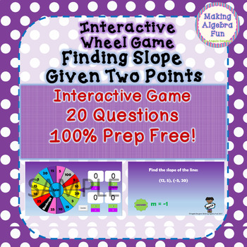 Math Wheel Game Topic Algebra:  Calculate Slope Given Two Points