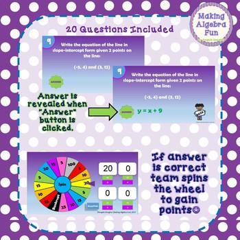 Math Wheel Game Topic Algebra:  Writing Equations in Slope Intercept Form