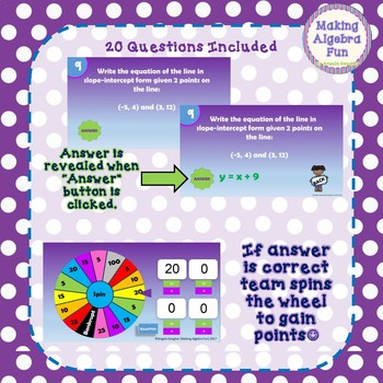 Math Wheel Game Topic Algebra:  Writing Equations in Slope Intercept Form