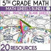 Math Wheel Bundle for Grade 5  - Fun Note-taking Format