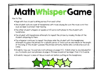 "Math Game ""Whisper Game"""
