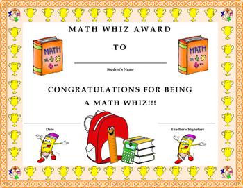 math whiz award certificate kids will love it by twin business