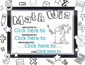Math Whiz Color Award