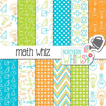 Math Whiz Digital Paper in Orange, Blue, and Lime Green