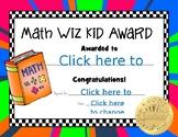 Math Wiz Kid Award