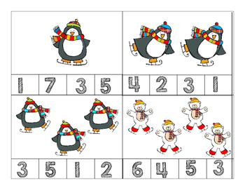 Math Winter Clip-it Cards