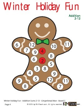 Math Christmas / Winter Holiday Fun Pack - Add, Subtract, Even/Odds, Multiply